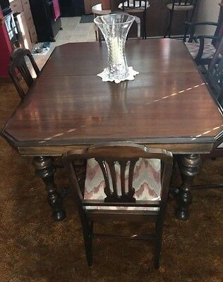 Vintage-Antique BEAUTIFUL 1919 Dark Walnut 9 Piece Dining Set. Well Cared For.