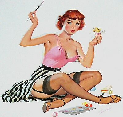 Bill Randall April 1960 Pinup Calendar Page, 'chick To Chick'