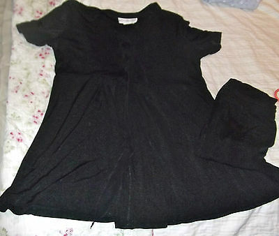Black Dressy 2 Piece Maternity Outfit Size Large Motherhood Stretchy Top & Pants