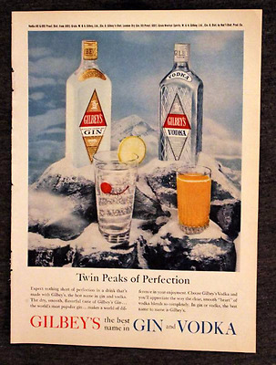 1960 or 1961 Gilbey's Gin and Vodka Ad - Retro Vintage 1960s Liquor Advertising