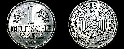1962 F German 1 Mark World Coin -West Germany