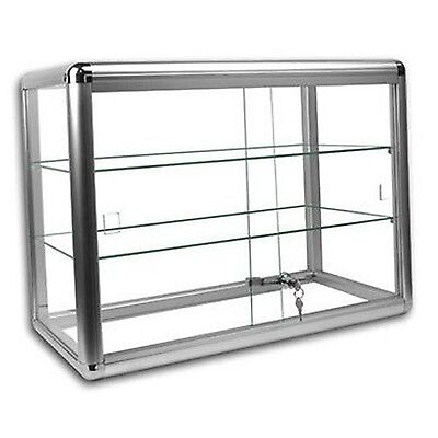 Elegant Silver Anodized Aluminum Display Table Top Tempered Glass Show Case. ...