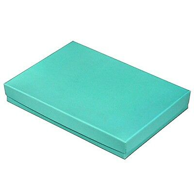 """Teal Blue Cotton Filled Gift Boxes  5 3/8"""" x 3 7/8"""" x 1"""" Free Shipping 25 pcs"""