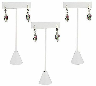 888 Display USA - 3 White Leatherette Earring T Stand Showcase Displays (5.75...