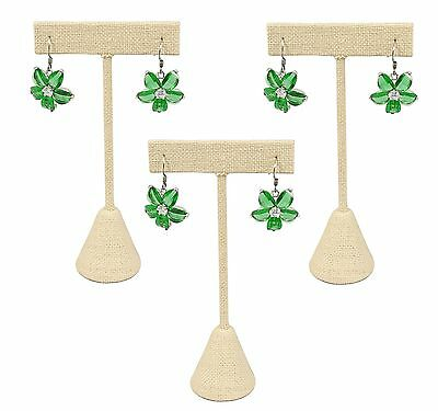 "888 Display USA - 3 Beige Linen Earring T Stand Showcase Displays (6.75"" (3 P..."