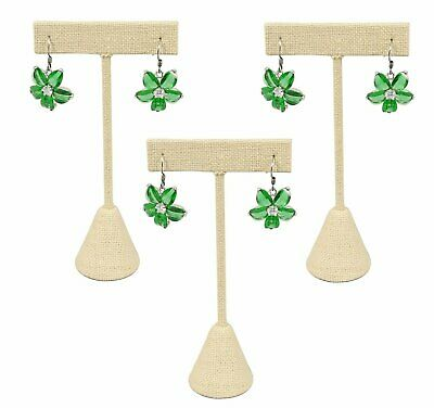 "888 Display USA - 3 Beige Linen Earring T Stand Showcase Displays (4.75"" (3 P..."