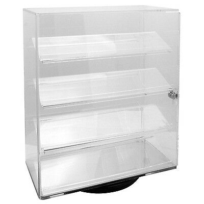 Acrylic Clear Rotating Lucite counter top display with 4 shelves and lock.