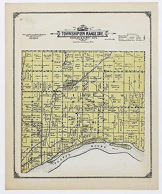 1913 Richfield Nebraska Map Springfield Plat Property Owners Railroads Original