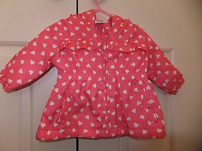 Baby Girls Cute Winter Jacket.Pink with White Hearts.Size 000