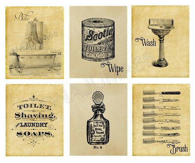 Vintage Style 8x10 Wall Decor Art Poster Print - Antique Bathroom