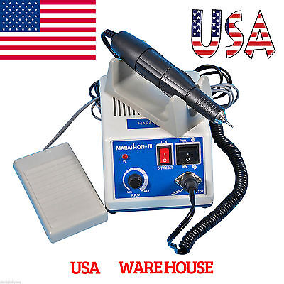 Dental 35K RPM Electric Marathon Micromotor + Contra Straight Handpiece Burs USA