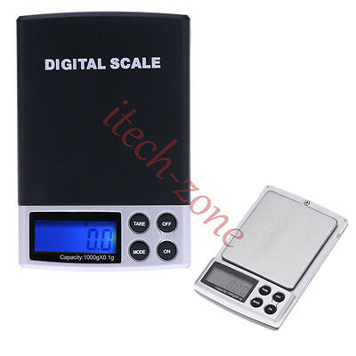 1000g 0.1g Mini Electronic Digital Jewelry Cooking Scale Blue LCD Weight Balance