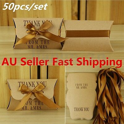 50/100Pcs Kraft Pillow Candy Boxes Wedding Birthday Party Decoration Favors Gift