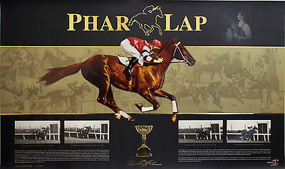 Phar Lap 1930 Melbourne Cup & Melb Stakes & 2 Other Wins Ltd Ed Poster Print CoA