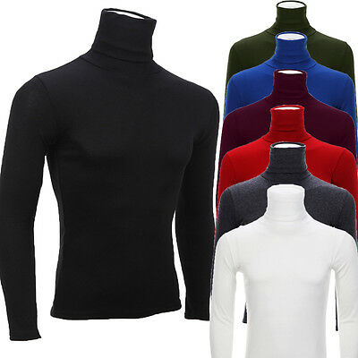Men's Turtleneck High Collar Long Sleeve Slim Blouse Solid Pullover Tops Outwear