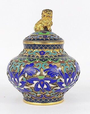 Antique Chinese Champleve Cloisonne Ginger Jar Tea Caddy w Gold Foo Dog Finial
