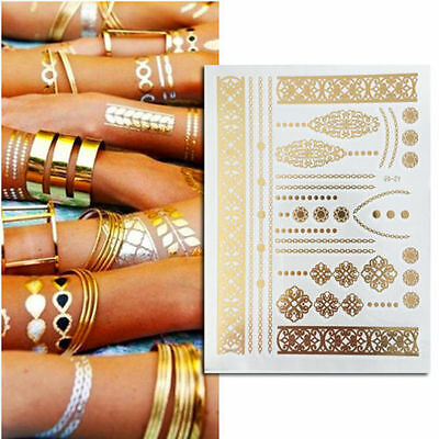 FESTIVAL 90s Grunge Temporary Tattoo Body Art Sticker Gold Silver Metallic NEW!