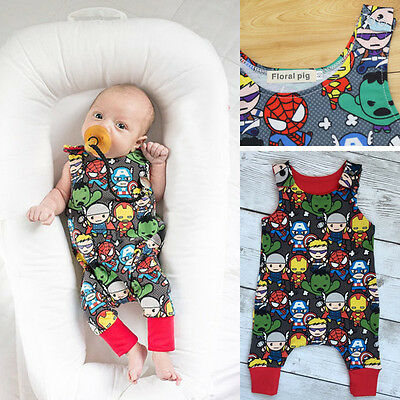 Newborn Baby Boys Girls Romper Superhero Outfit Summer Clothes Sunsuit One Piece