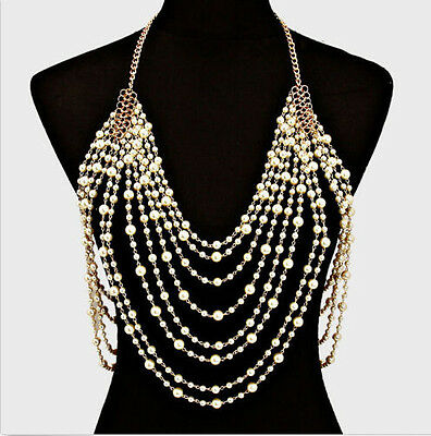 Beautiful Faux Pearl Draped Statement Shoulder Bridal Prom Body Chain Uk Seller