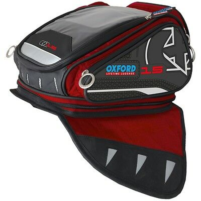 Oxford Luggage X15 Motorcycle Motorbike Scooter Magnetic Tank Bag Red 15 Litre