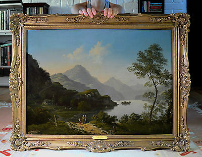 Important Large Fine 19th Century Oil Painting of Loch in the Scottish Highlands