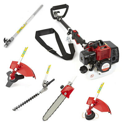 33cc 5in1 Petrol Strimmer Brushcutter Hedge Trimmer Chainsaw Multi Tool 1.5HP