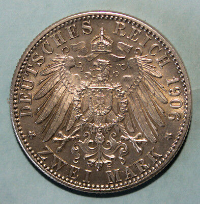 Germany - Baden 2 Mark 1906 Almost Uncirculated Silver Coin - Friedrich & Luise