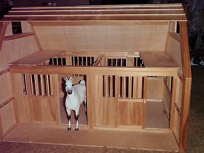 Large Toy Wooden Breyer Horse Barn Two Stalls Sliding Stall Doors, hours of FUN