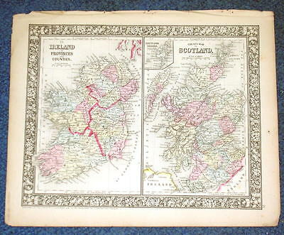 Origial 1860 Mitchell Map of Scotland & Ireland In Provinces 12.5 X 15.25