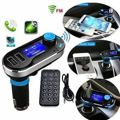 Blau Auto KFZ FM Transmitter SD / TF / USB MP3 Musik Player Freisprechanlage DE
