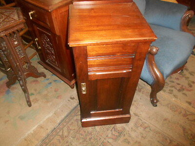 Antique Oak Edwardian Pot Cupboard Bedside Cabinet Shelve Storage Good Colour