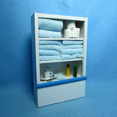 Dollhouse Miniature Blue Bathroom Cabinet Filled w/ Towels, Toilet Paper & More