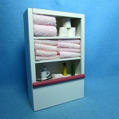 Dollhouse Miniature Pink Bathroom Cabinet Filled w/ Towels, Toilet Paper & More