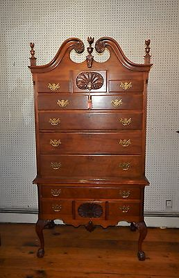 Vintage Custom Bench Handmade Quality Chippendale Carved Mahagony Highboy 82""