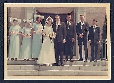 Portrait of Bride & Groom and Wedding Party Vintage 1960's Color Photograph