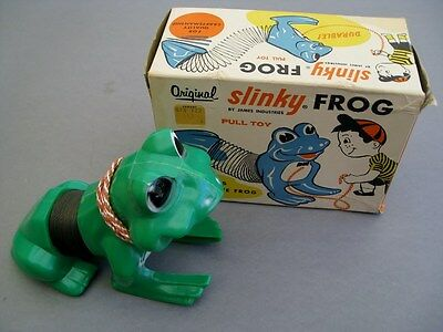 1960s ORIGINAL SLINKY FROG PULL TOY w/ORIGINAL BOX!!   **NICE**