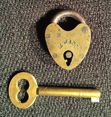 RARE ENGRAVING ERROR! Old Mallory And Wheeler Heart Shaped Brass Lock MW & Co.