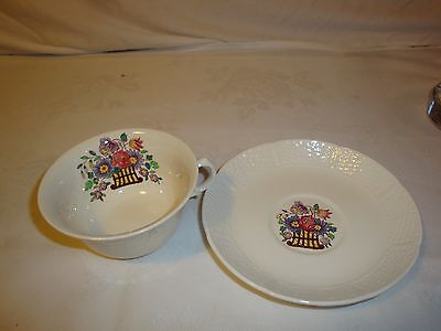 Wedgwood Eutria 1920's Tea Cup and saucer Floral Flowers Basket Belmar like