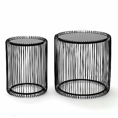 "SET OF 2 SIDE TABLE ""WIRE BLACK"" 