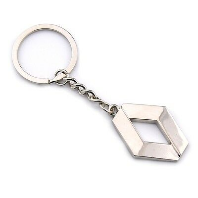 Fashion 3D Car Logo Metal Key Chain Pendant Holder Silver Chain Keyring Renault