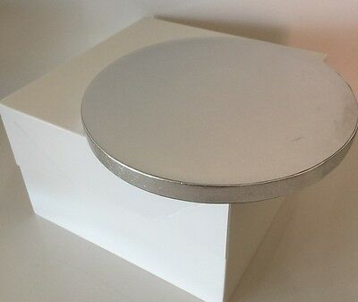 SINGLE Cake Board & White Box SILVER Thick Drum Wedding Birthday ROUND OR SQUARE