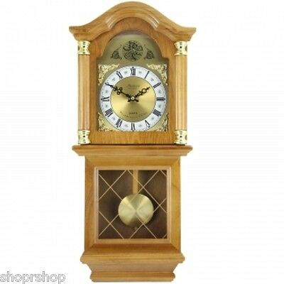 "Bedford Clock Collection Classic 26"" Golden Oak Chiming Wall Clock Swinging Pend"