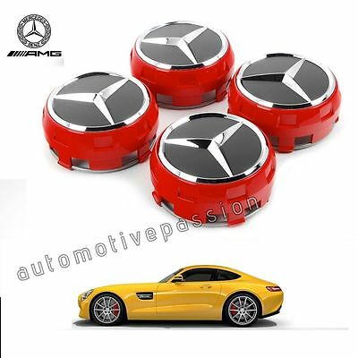 Original Mercedes Amg Alloy Wheel Centres Hub Caps - Red & Black 75Mm