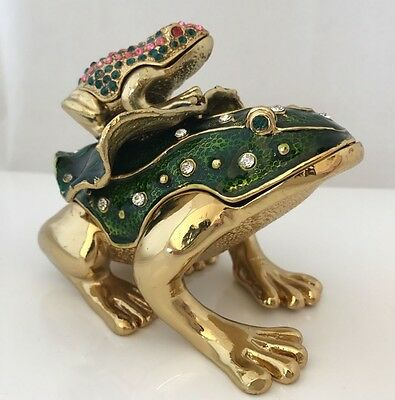 Frog w Little Frog On It's Back Enameled Metal & Rhinestones Hinged Trinket Box