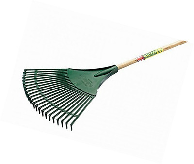 Wide Plastic Lawn Leaf Rake Garden Handle Budget Gardening Strong Tool Wooden