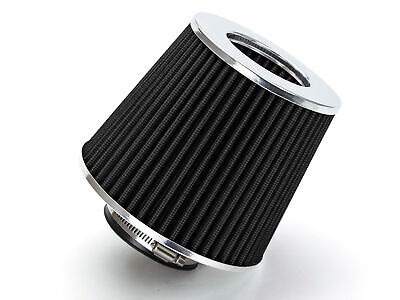 """2.5"""" Short Ram Cold Air Intake Filter Round/Cone Universal BLACK For Chevy 2"""