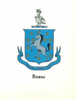 *Great Coat of Arms Doane Family Crest genealogy, would look great framed!