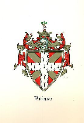 *Great Coat of Arms Prince Family Crest genealogy, would look great framed!