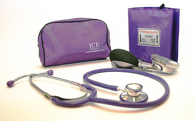 Aneroid Purple Sphygmomanometer With 1 Adult Cuff and Purple Stethoscope - Blood