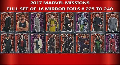 Topps MARVEL MISSIONS trading cards 2017: Full set of 16 MIRROR Foils #225-240